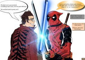 Travis Touchdown vs Deadpool by Rorisu
