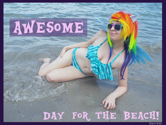 (MLP) Rainbow Dash's Beach Day (Bikini Cosplay) by KrazyKari