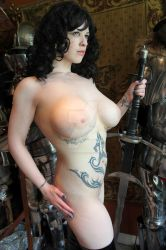 Nude Warriror Girl with Sword by HotMedievalBabes