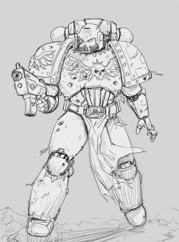 Space Marine Sketch by SalvadorTrakal