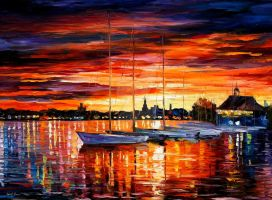 HELSINKI - SAILBOATS AT YACHT CLUB by L.Afremov by Leonidafremov