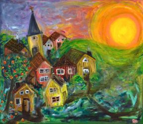 Church in the middle of a village by miss783