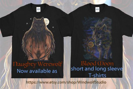 Naughty Werewolf and Blood Moon Tees by ssantara