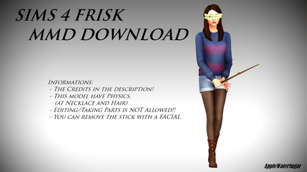 [MMD] Sims 4 Undertale Frisk (DL Down) by AppleWaterSugar