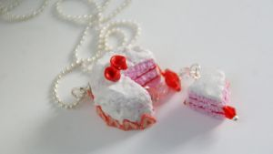 Strawberries and Cream Cake Necklace by polgabice