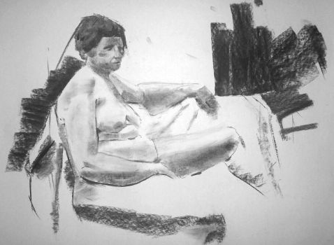 life drawing 20 minute pose  in charcoal.. by popthemelon8