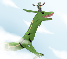 Gift - Rayquaza and Brendan by Moonlightalis