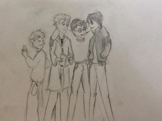 Moony, Wormtail, Padfoot and Prongs by chexie101