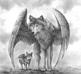 Winged Wolves by aragornbird