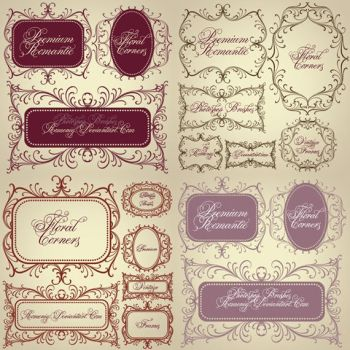 Vintage Floral Corners Premium  Brushes by Romenig