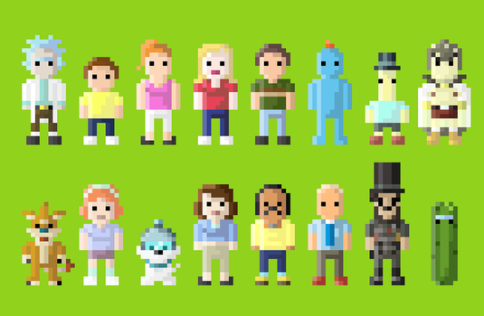 Rick and Morty Characters 8 Bit by LustriousCharming