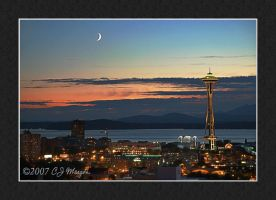 Moon Over Elliott Bay by e-CJ