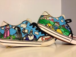 Adventure Time shoes by bunnyluvable