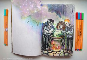 Harry, Ron and Hermione by MoonPrincess93
