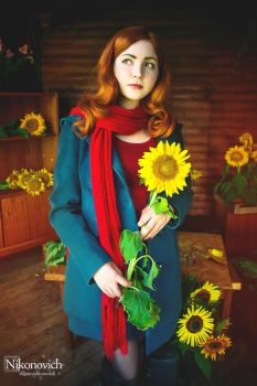 Gingers are cool! Amy Pond with sunflower by valeravalerevna