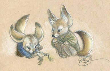 Fox Frogs by AmberStoneArt