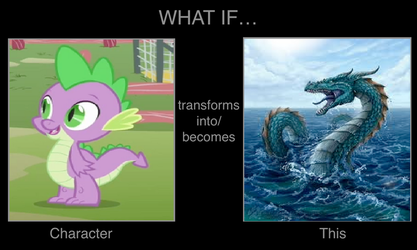 What If Spike Turns into Sea Serpent by cartoonfan22
