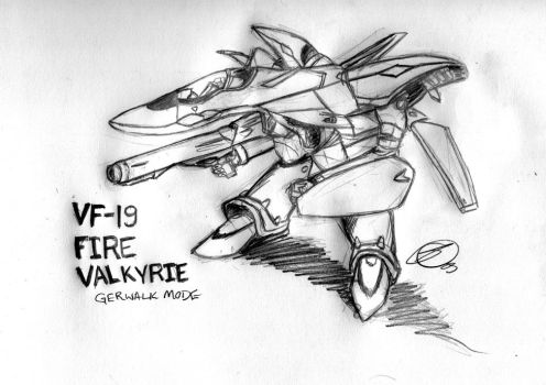 VF-19 Fire Valkyrie: Gerwalk by Xairin