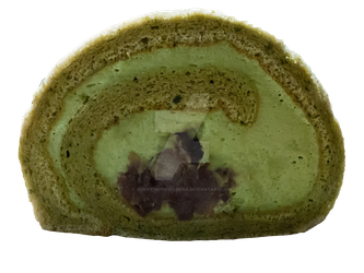 Matcha Roll Cake PNG by Bunny-with-Camera