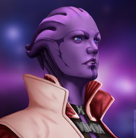 I am Omega - Aria T'Loak by StarsandSkies-Art