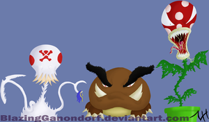 Toad-Goomba-PirPlant-Redesigns by BlazingGanondorf