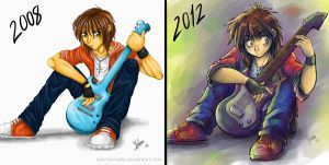 Guitar apprentice, before and after by reactormako