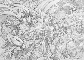 Superman vs Saitama vs Goku by lorkalt