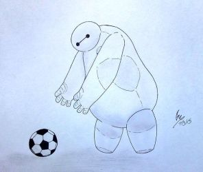 Baymax and his soccer ball... by deathgenebunny