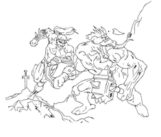 Warrior vs minotaur (Vector lines) by electronicdave