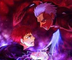 Fight Against the Past (Archer vs. Shirou) by ARISA777o-w-o