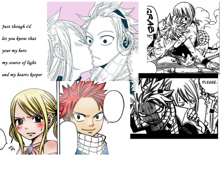 Natsu and Lucy Collage and Desktop by runofan123