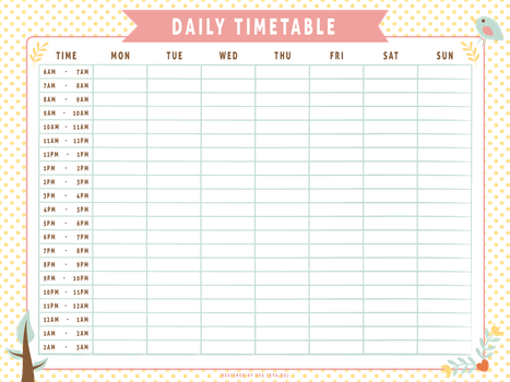 Daily Timetable (Whimsical) by apparate