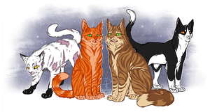 Blackstar, Firestar, Crookedstar, Tallstar v.2 by Fox-Desert