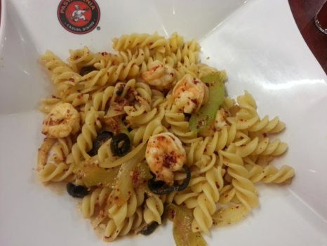 Fusilli with Shrimp and Olives by nosugarjustanger