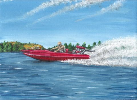 Speedboat painting by CB-Dragoness