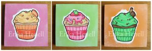 3 Cupcake Paintings by PeterPan-Syndrome
