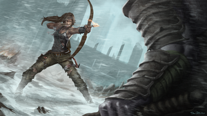 Lara Croft against the giant samurai zombie by DanOliveira