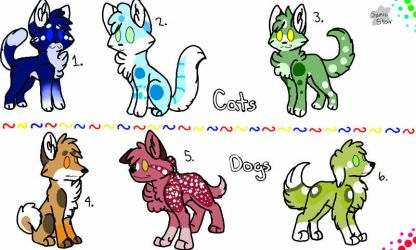 Cat and Dog Adopts! 5/6 Left by Kodi-ak