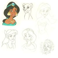 Disney Sketches by wolfypuppy