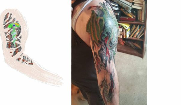 tattoo concept vs actual tattoo by DraigonSwords