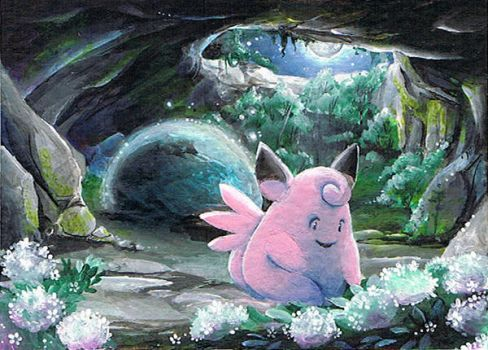 Clefable on MT.Moon by ravenoath