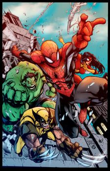 Avenging Spiderman Promo Colors by Staminaboy