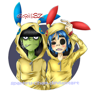 GoRiLLaz with PokeHoodie [Plusle and Minun] by Sparkru-chan