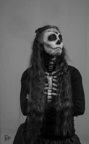 Black and white Santa-Muerte by Arts-of-Cendrayliss