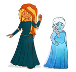 Merida and Elsa by Fyreglyphs