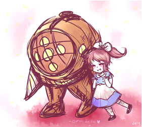 Big Daddy + Little Sister Bioshock ~ Commission by opiatepie