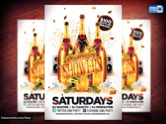 Champagne Showers Flyer PSD by Industrykidz