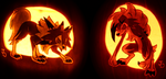 A Pair of Lycanroc Pumpkins by johwee