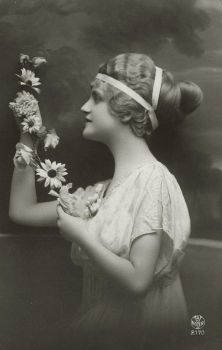 Vintage lady in profile with flowers 003 by MementoMori-stock