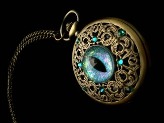 Dragon Egg Shell Blue Teal Steampunk Pocket Watch by LadyPirotessa